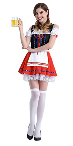 Einfach Cosplay Kostüme Für Anfänger (Honeystore Damen Halloween Kostüme The Munich Oktoberfest Fashion Uniform Cosplay Allerheiligen Kleider für Oktoberfest Rot-03)