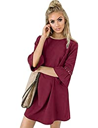 Aitos A Linie Kleider Damen 3/4 Arm Sommerkleid Tunika Elegante Minikleider Strandkleider Partykleid Schick Causal Lose