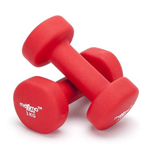 Maximo Fitness Mancuernas de Neopreno (Par) - Pesas de Mano Desarrollo de Fuerza, Tonificación Muscular, Gimnasia en Casa y Rehabilitación - Ideal para Hombres y Mujeres. (Red - 3kg x 2)