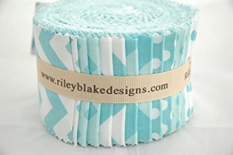 Riley Blake 24 Piece BASIC AQUA BLUE Chevrons Spots Gingham Fabric Blender Fabric Quilting Fabric Jelly Roll, Roll Up Patchwork Quilting Bundle - Aqua Blue & White - 6.5 x 110cm pieces (2.5