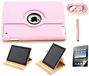 iPad 2 PINK 360 Degree Rotating PU Leather CASE COVER-Stand For The Apple iPad2 w/stylus+screen protector+USB, 4in1 PACKAGE Charles Jacobs
