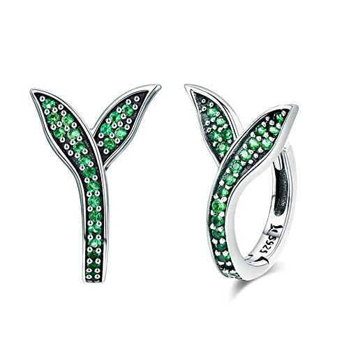 LVYE1 Grüne Knospe Ohrclips S925 Silberohrringe Ohrclip Kleine Ohrclips Schmuck Allergie Verhindern Mode Silberschmuck Weibliche Ohrringe Geschenk