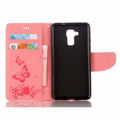 LEMORRY Huawei Honor 5c Custodia Pelle Cuoio Flip Portafoglio Borsa Sottile Fit Bumper Protettivo Magnetico Chiusura Standing Card Slot Morbido Silicone TPU Case Cover Custodia per Huawei Honor 5c (Ho Rose