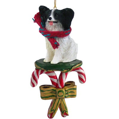 Papillon Black Dog Candy Cane New Christmas Ornament DCC47B