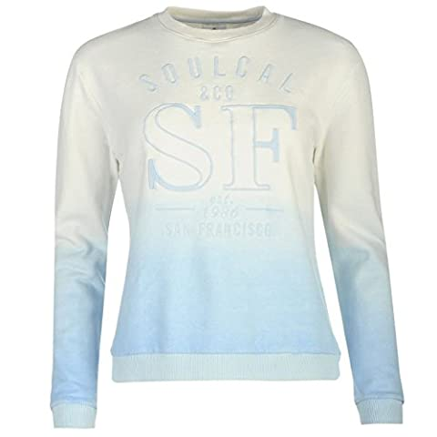 SoulCal Womens Ombre Sweater Sweatshirt Long Sleeve Crew Neck Top White/Blue 10 (S)