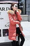 WYIKAI Mäntel Frauen Winterkleidung Langen Abschnitt dick gepolsterten dünnen Mantel, Rost rot, 3XL