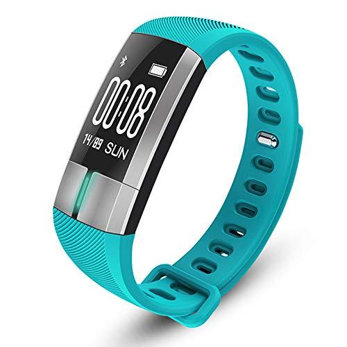 UMGZY Fitness Trackers Monitor de Ritmo cardíaco Oxígeno sanguíneo Presión Arterial Podómetro Monitoreo del sueño Saludable Bluetooth Recordatorio Inteligente a Prueba de Agua para iOS Android,Cyan