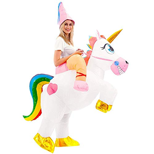 Kostüm Pferde Für Erwachsene - FunClothing Aufblasbares Einhorn-Kostüm, Faschingskostüm für Party, Halloween, Weihnachten, Karneval (Sieben Farben) Gr. One Size, Adult