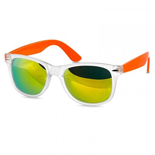 Caspar SG031 Unisex Classic Retro Design Sonnenbrille, Farbe:matt durchsichtig orange/gold verspiegelt