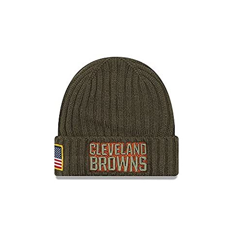 New Era NFL CLEVELAND BROWNS Salute to Service 2017 Authentic Sideline Beanie Knit