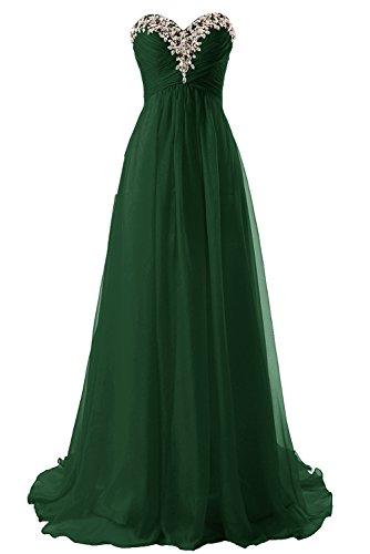 Abendkleider Ballkleider Lang Chiffon Brautjungfernkleid A Linie Damen Festkleid Dunkelgrün EUR56