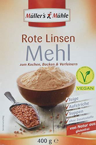 Müller´s Mühle Rote Linsen Mehl, 4er Pack (4 x 400 g)