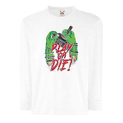 Kinder-T-Shirt mit langen Ärmeln Spielen oder sterben - nur für Spieler! (14-15 years Weiß (Best Tech-weihnachtsgeschenke 2016)