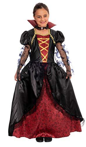 Kostüm Königin Vampir Mädchen - Magicoo Königin Vampir Kostüm Kinder Mädchen mit Kragen - schickes Halloween Vampirkostüm Kind (134/140)