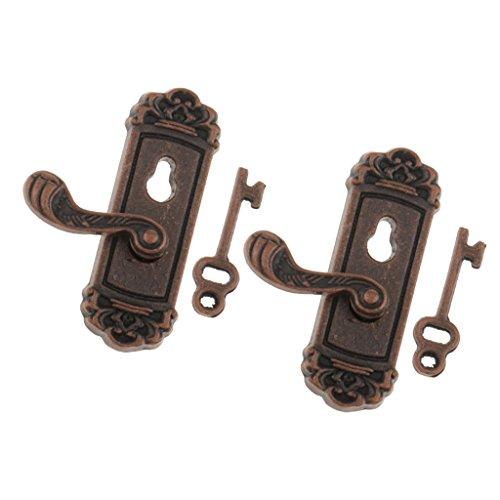 MagiDeal 2 Stück 1/12 Puppenhaus Miniatur Retro - Türschlösser & Griff + Schlüssel - Rechter Griff