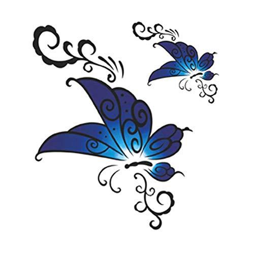 3 Sheets Blue Butterfly Simulation Tattoos Bauch Make-up Aufkleber temporäre Tätowierungen ()