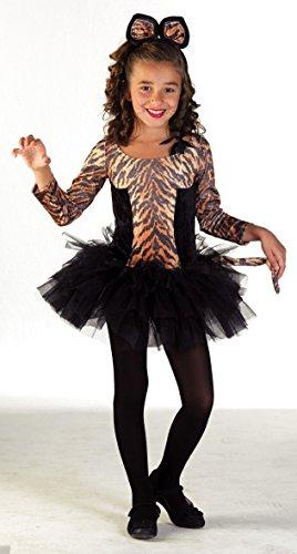 Mädchen Teenager Für Halloween Gute Ideen Kostüme (Premium Tiger-Kostüm für Mädchen mit Tiger-Ohren und Tiara | Hochwertiges Karnevals-Kostüm / Faschings-Kostüm / Tigerkostüm | Perfekte Teenager-Verkleidung für Karneval, Fasching, Fastnacht (Größe:)