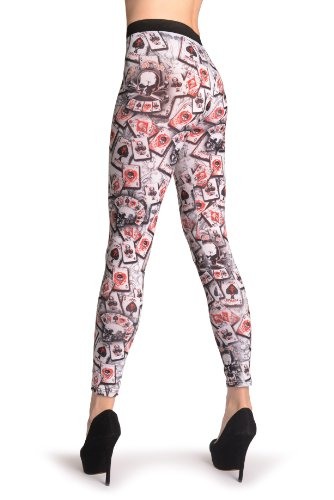 Gothic Alchemy Poker Skull - Leggings Taille Unique (34-40) Blanc