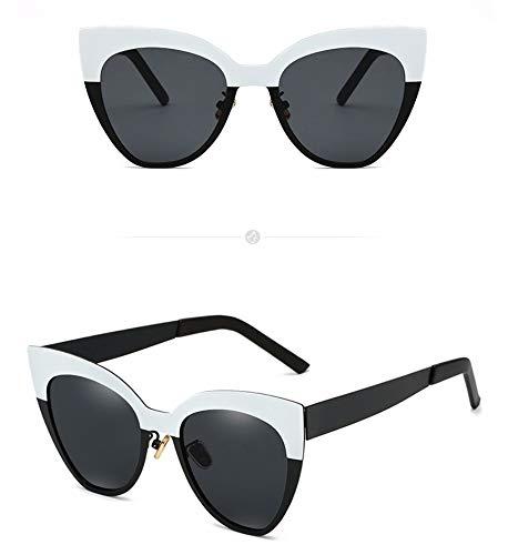 Sonnenbrille,Cat Eye Sonnenbrille Metall Frauen Frame Brille Weiß + Schwarzen Rahmen