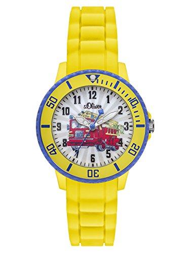 s.Oliver SO-2982-PQ - Reloj de cuarzo para niño, correa de silicona color amarillo