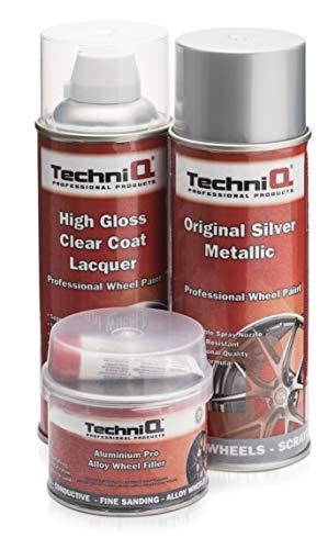 TechniQ, Kit di Vernice per Cerchi in Lega Metallica, 1 bomboletta da 400 ml + Rivestimento Trasparente Lucido + riempitivo per Cerchi in Alluminio 250 g
