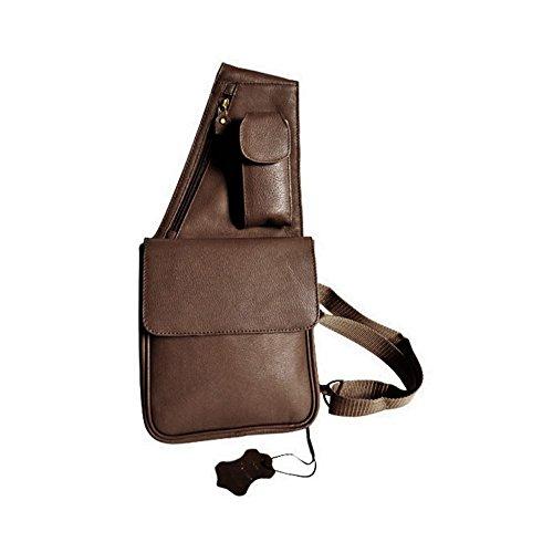 Charmoni-Sacchetto/borsa/pochette Daan, in nylon, imbottita, in pelle di vacchetta, nuovo Marrone