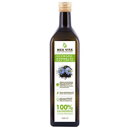 MeaVita Schwarzkümmelöl, 100{c20702855460e644116aec8a13e79d1d0b2c9f4def1734d5d51e6d1857ef9728} rein und kaltgepresst, 1er Pack (1 x 1000 ml)