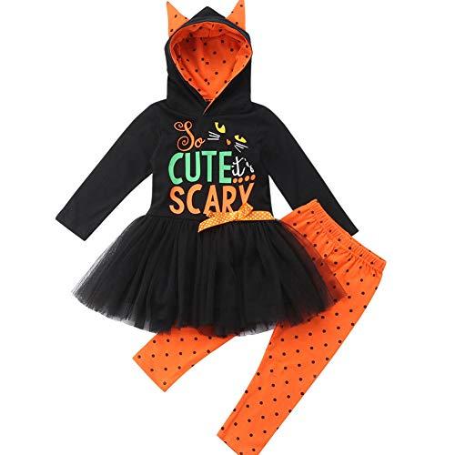 Baby Kleinkind Mädchen Halloween Katze Ohr Tutu Hoodie mit Polka Dot Lange Hose Kleidung Set (Schwarz, 3-4 Year)