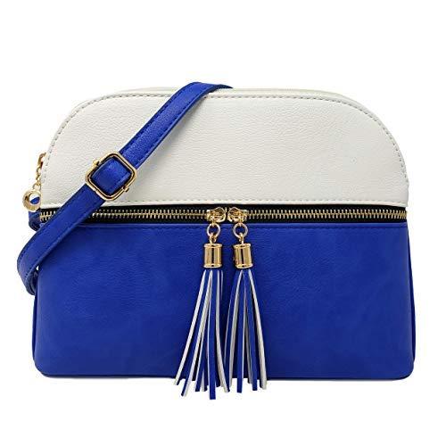 Alettes Meium Damen Umhängetasche mit verstellbarem Schultergurt, Blau (White/Royal Blue), Medium