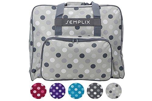 SEMPLIX XL-Nähmaschinentasche, Polka Dots stein/grau, 52x42x27 cm | Große stabile Transport und Aufbewahrungs Tasche für große Nähmaschinenmodelle (Grau Dot Taschen)