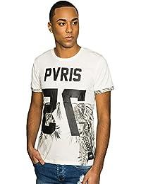 T-shirt Pvris 75 Sixth June feuilles palmier blanc 1628V