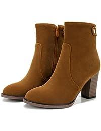 Hebilla de cinturón de lijado Tubo Corto Chunky Heels–Botas, marrón, 38