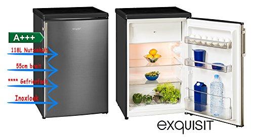 Exquisit KS 16-4 A+++ Inoxlook Kühlschrank mit Gefrierfach A+++ 55cm breit Bürokühlschrank