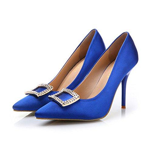 FLYRCX Primavera e autunno sete e raso appuntita shallowly lady party tacchi alti blue