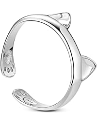 Sweetiee 925 Sterling Silver Finger Ring with Cat Ear and Paw Platinum Size O Adjustable for Woman