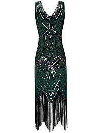 Metme Womens 1920s V Neck Beaded Fringed Gatsby Theme Flapper Dress Prom