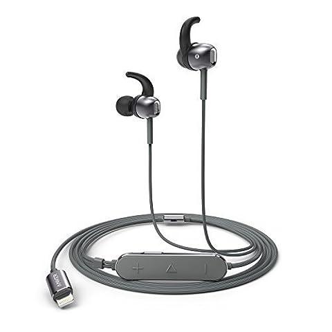 Anker SoundBuds Digital IE10 Lightning Kopfhörer In-Ear mit Verstellbaren Klangmodi - High Resolution Klang, MFi Zertifiziert, IPX5 Wasserfest mit Inline-Mikrofon und Fernbedienung für iPhone, iPad,
