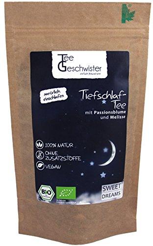 Tee-Geschwister BIO Schlaf-Tee | natürlicher Kräuter-Tee zum einschlafen und durchschlafen | Abend-Tee mit Baldrian Passionsblume und Melisse | ohne Zusatzstoffe | 85g