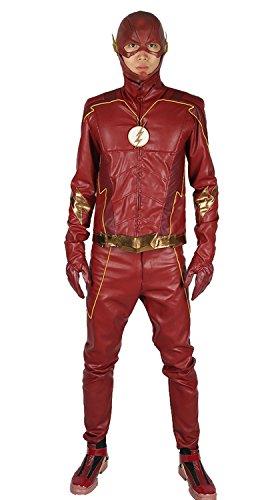 Halloween Barry Kostüm Allen (Herren Cosplay Kostüm Season 4 Outfit Anzug Leder Jacke mit Gürtel Merchandise für Erwachsene Verrücktes)
