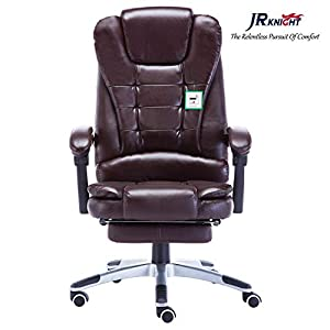 JR Knight Ergonomic Executive Chair, Ultimate Comfort Design Home Office Computer Swivel Racing Chair, PU Leather Padding Desk Chair with Extended Legrest and Recliner (Brown/Coffee)