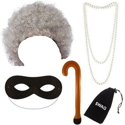 Grau Oma Perücke, Perlenkette, Gehstock & Schwarz Augen Maske Kostüm Verkleidung Zubehör (Oma Kostüm Zubehör)