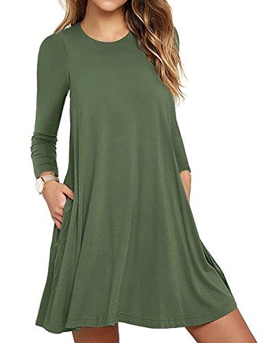 HAOMEILI Damen Langarm Stretch Casual Loose T-Shirt Kleid S Armeegrün