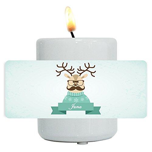 Teelichthalter mit Namen Juna und lustigem Motiv mit Rentier in Pullover, Brille und Schnurrbart