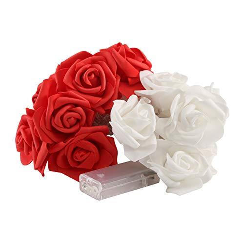 Ikevan_ 3 m Rosen Lampe Fresh Ins Stil Künstliche Blumen Bouquet Nachtlicht Bouquet für Hochzeit Party Schlafzimmer Wohnzimmer Dekoration rot -