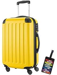 Hauptstadtkoffer® Bagaglio a mano (49 litri) con un lucchetto TSA Seria SPREE (Colore Giallo con 1 ciondolo per la valigia)