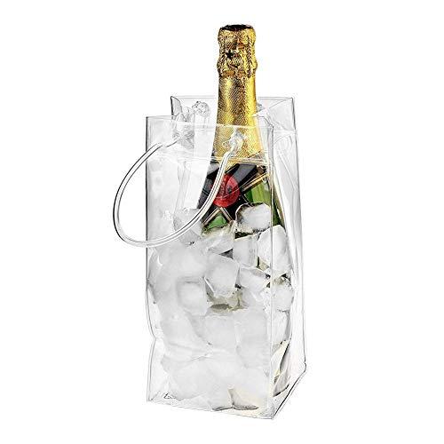 Información:Hecho de material de PVC engrosado, es inodoro, inofensivo, ecológico, cómodo y resistente.Nuestras bolsas de hielo son completamente impermeables y pueden contener una botella de su vino, champán o cerveza favoritos.Coloque su bebida ...