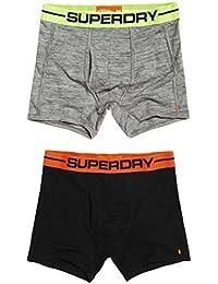 Superdry Sport Boxer Shorts Double Pack Gravel Grey Grit/Black