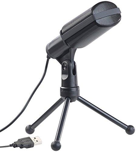 auvisio Standmikrofon: Profi-USB-Kondensator-Mikrofon für Studio-Aufnahmen, Mini-Stativ (PC Mikrofon)