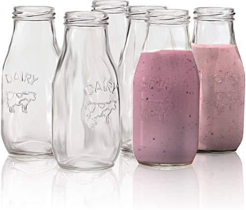 Circleware Country - Juego de 6 botellas de leche de cristal, diseño de lácteos