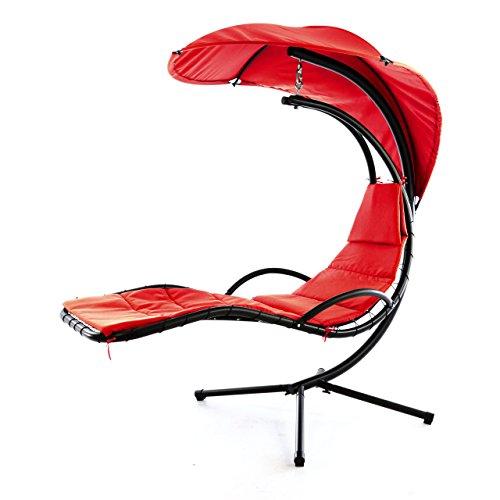 Nexos Luxus Schwebeliege Rot Schwingliege Relaxliege Hängeliege Sonnenliege Hängeschaukel Inklusive Sonnenschirm